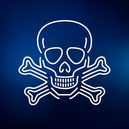 Beware danger skull icon. Beware danger skull sign. Beware danger skull symbol. Thin line icon on blue background. Vector illustration. Illustration