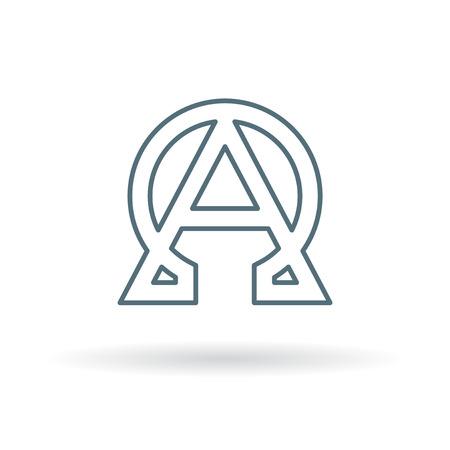 アルファとオメガのアイコン。アルファとオメガの記号。アルファとオメガのシンボル。白い背景の上の細い線のアイコン。ベクトルの図。