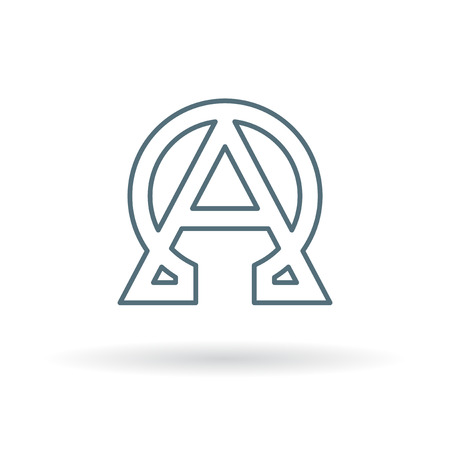 alphabet greek: Alpha and Omega icon. Alpha and Omega sign. Alpha and Omega symbol. Thin line icon on white background. Vector illustration.
