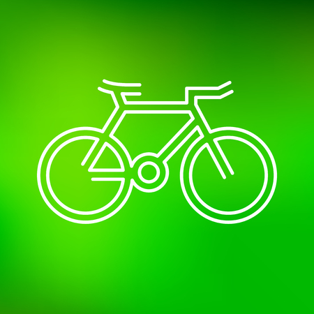 bicicleta vector: Bicycle icon. Bicycle sign. Bicycle symbol. Thin line icon on green background. Vector illustration. Vectores