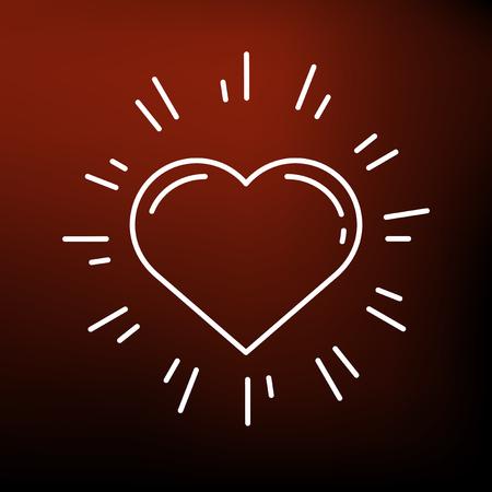 heart sign: Glowing heart icon. Glowing heart sign. Glowing heart symbol. Thin line icon on red background. Vector illustration.