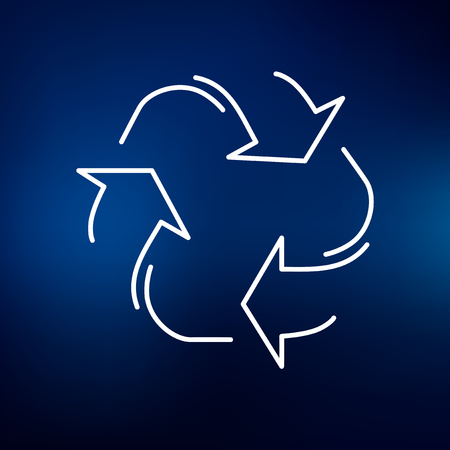 recycle sign: Recycle icon. Recycle sign. Recycle symbol. Thin line icon on blue background. Vector protect the environment illustration.