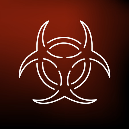 dangerous: Danger biohazard icon. Danger biohazard sign. Danger biohazard symbol. Thin line icon on red background. Vector illustration.