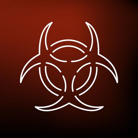 bio hazardous: Danger biohazard icon. Danger biohazard sign. Danger biohazard symbol. Thin line icon on red background. Vector illustration.