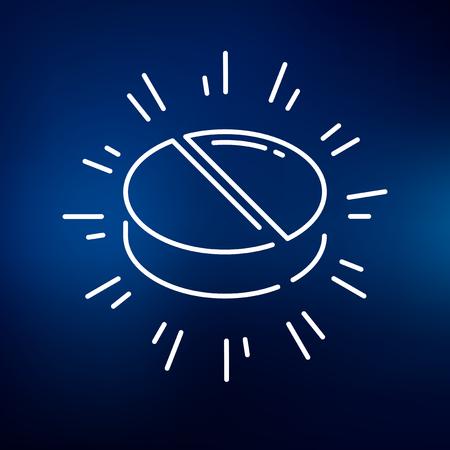 simbolo medicina: icono de la tableta medicina. signo de las tablillas Medicina. símbolo de la tableta medicina. icono de línea fina en el fondo azul. Ilustración del vector. Vectores