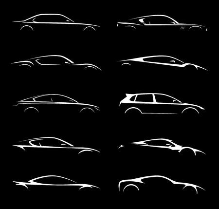 개념 차 차량 실루엣 벡터 컬렉션 세트 디자인