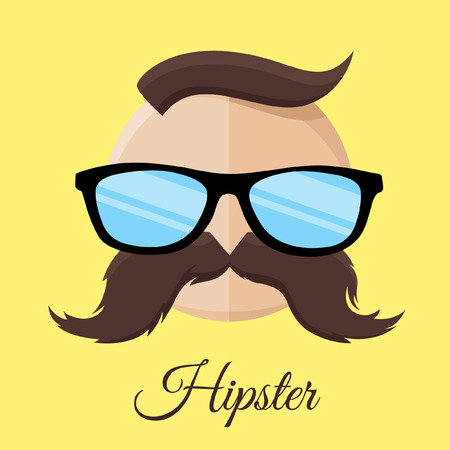 standout: Hipster man with Glasses and Mustache on yellow background. Vector illustration. Illustration