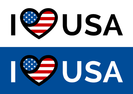 usa: I love USA sticker slogan vector design with conceptual heart and flag icon