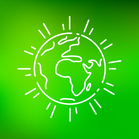 ozone friendly: Planet earth icon. Planet earth sign. Planet earth symbol. Thin line icon on green background. Vector illustration.