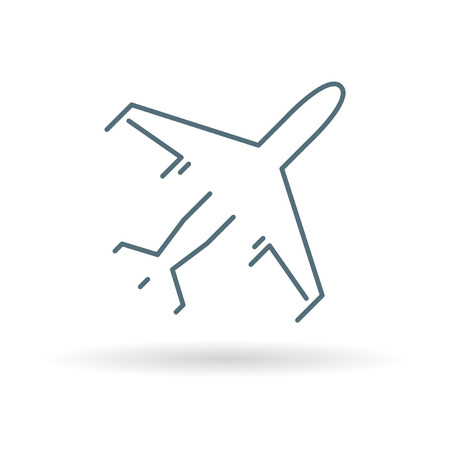 airplane: Flying airplane icon. Flying airplane sign. Flying airplane symbol. Thin line icon on white background. Vector illustration.