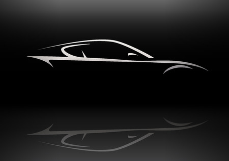 Conceptual Supercar silhouette vector design with reflection Ilustração