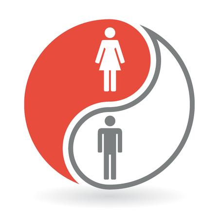 Yin Yang Concept Symbol - Man and Woman vector illustration