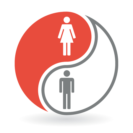 Yin Yang Concept Symbol - Man and Woman vector illustration