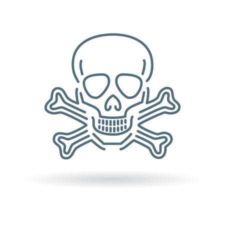 dangers: Beware danger skull icon. Beware danger skull sign. Beware danger skull symbol. Thin line icon on white background. Vector illustration.