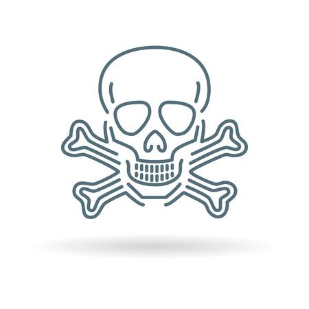 peligro: Cuidado con el icono del cráneo peligro. Cuidado con la muestra del cráneo peligro. Cuidado con símbolo del cráneo peligro. icono de línea fina en el fondo blanco. Ilustración del vector.