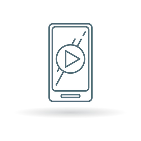 smart phone: Smartphone mobile play video icon. Smartphone mobile play video sign. Smartphone mobile play video symbol. Thin line icon on white background. Vector illustration.