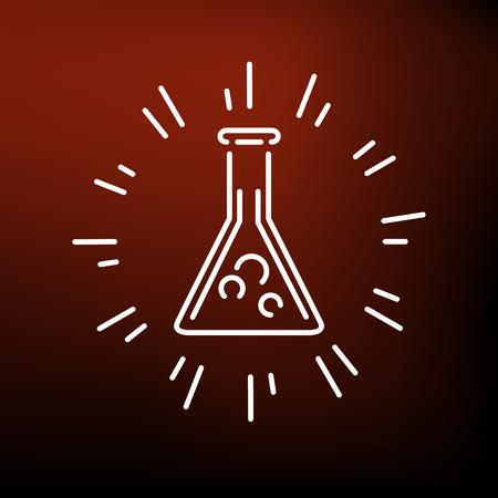 beaker: icono vaso de laboratorio. signo vaso de laboratorio. s�mbolo vaso de precipitados de laboratorio. icono de l�nea fina en el fondo rojo. Ilustraci�n vectorial de vaso de precipitados m�gico.