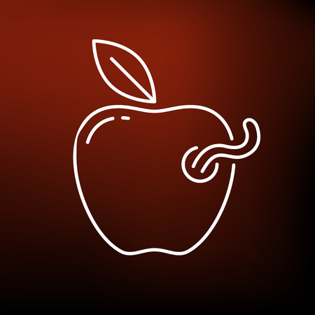 Rotten apple icon. Rotten apple sign. Rotten apple symbol. Thin line icon on red background. Rotten apple vector illustration.