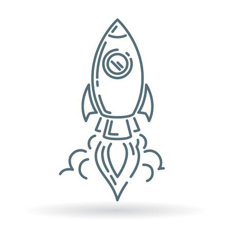 COHETES: icono de lanzamiento del cohete. Lanzamiento de Rocket señal. Rocket símbolo de lanzamiento. icono de línea fina en el fondo blanco. Ilustración del vector.