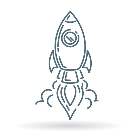 Rocket launch icon. Rocket launch sign. Rocket launch symbol. Thin line icon on white background. Vector illustration. Vettoriali