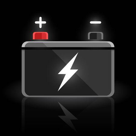 volt: Concept automotive 12 volt car battery design on black background. Vector illustration.