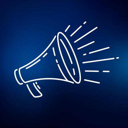 announcements: Loudspeaker megaphone icon. Loudspeaker megaphone sign. Loudspeaker megaphone symbol. Thin line icon on blue background. Vector illustration. Illustration