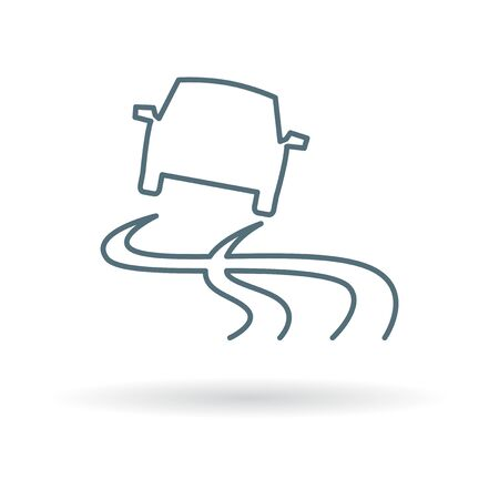 Slippery road when wet icon. Slippery road when wet sign. Slippery road when wet symbol. Thin line icon on white background. Vector illustration.