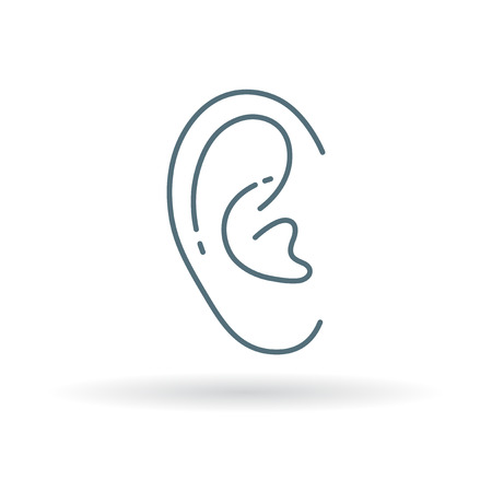medical exam: Ear icon. Ear sign. Ear symbol. Thin line icon on white background. Vector illustration. Illustration
