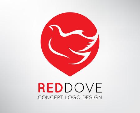 dove in flight: Red Dove Concept Design. Vector illustration.