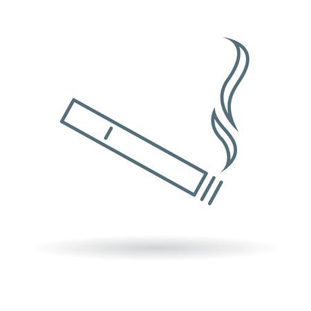 designated: Cigarette icon. Cigarette sign. Cigarette symbol. Thin line icon on white background. Vector illustration.