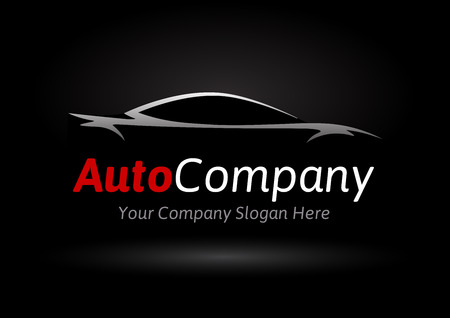 Modern Auto Company Design Concept with Sports Car Silhouette on black background. Vector illustration. Иллюстрация