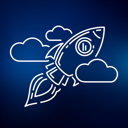 rocket: Conceptual rocket flying icon. Rocket flying sign. Rocket flying symbol. Thin line icon on blue background. Vector illustration of rocket flying through sky with clouds.