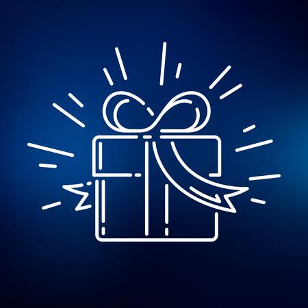 Gift box icoon. Gift box ondertekenen. Gift box-symbool. Dunne lijn pictogram op een blauwe achtergrond. Vector illustratie. Stock Illustratie