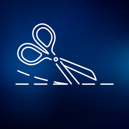 scissors icon: Scissors cutting icon. Scissors cutting sign. Scissors cutting symbol. Thin line icon on blue background. Vector illustration. Illustration