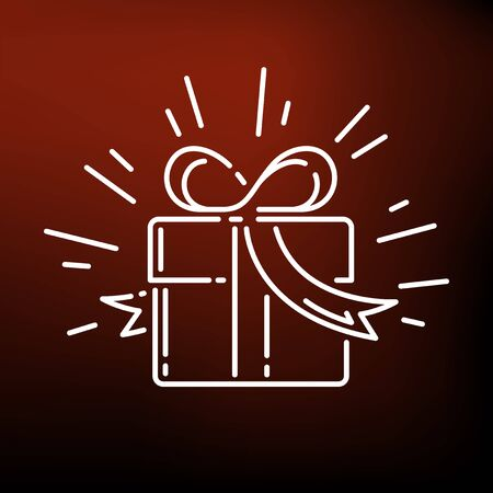 line drawings: Christmas gift box icon. Gift box sign. Gift box symbol. Thin line icon on red background. Vector illustration.