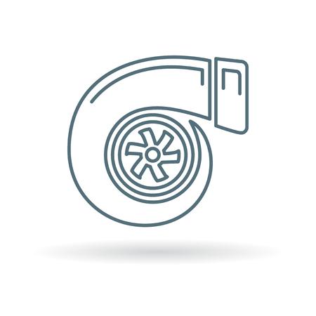 turbo: Turbo icon. Turbo sign. Turbo symbol. Thin line icon on white background. Vector illustration.