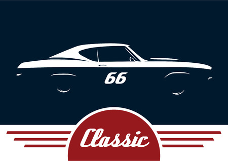 muscle car: Classic Sports Muscle Vehicle Silhouette Vector Design