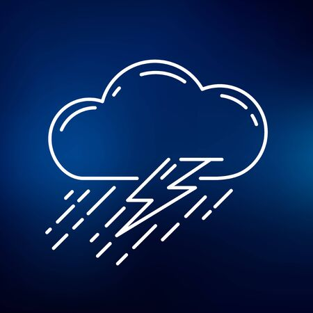 torrential rain: Cloud thunderstorm icon. Cloud thunderstorm sign. Cloud thunderstorm symbol. Thin line icon on blue background. Vector illustration.