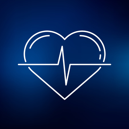 heartbeat line: Conceptual heartbeat icon. Conceptual heartbeat sign. Conceptual heartbeat symbol. Thin line icon on blue background. Vector illustration. Illustration