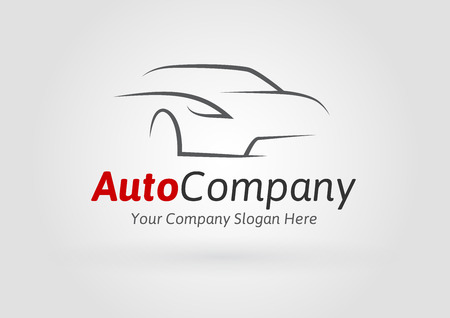 transportation company: Auto Company Vector Design Concept with Sports Car Silhouette on light grey background
