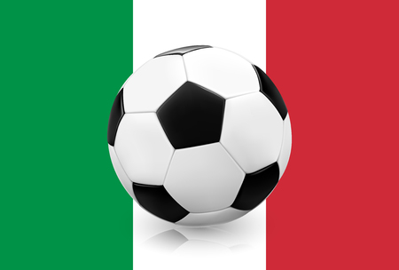 football european championship: Realistic soccer ball  football on Italian flag background. Vector illustration. Illustration