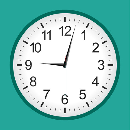 Green flat style analogue clock .Vector illustration. Illustration