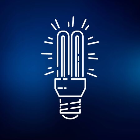 thin bulb: Fluorescent light bulb icon. Fluorescent light bulb sign. Fluorescent light bulb symbol. Thin line icon on blue background. Vector illustration.