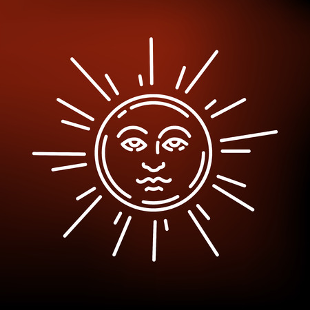newage: Sun face icon. Sun face sign. Sun face symbol. Thin line icon on red background. Vector illustration. Illustration
