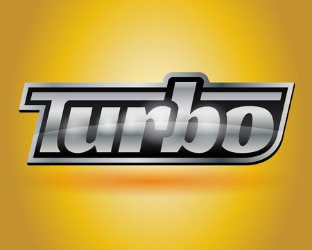 forced: Metallic vehicle turbo badge vector design