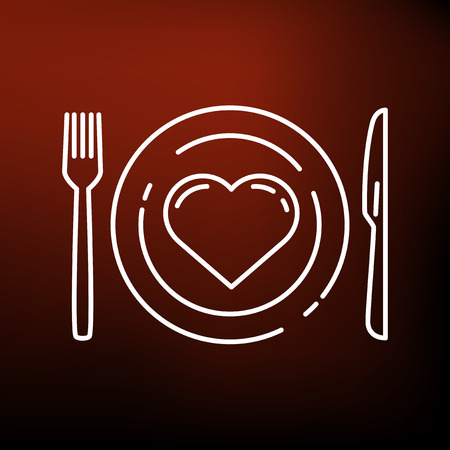 eat healthy: Conceptual eat healthy icon. Conceptual eat healthy sign. Conceptual eat healthy symbol. Thin line icon on red background. Vector illustration.