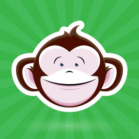 mono caricatura: Cara del mono de dibujos animados con expresión infantil feliz en fondo verde - Diseño del vector