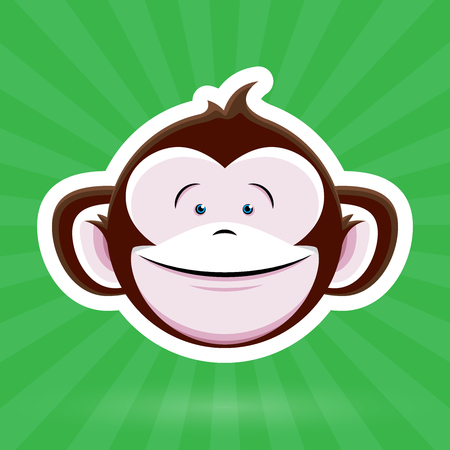 childlike: Cartoon Monkey Face with Happy Childlike Expression on Green Background - Vector Design