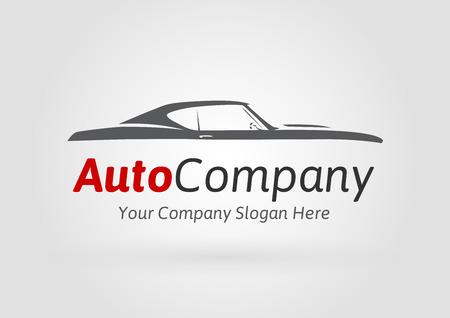 Auto Company Design Concept met klassieke Amerikaanse stijl sport Car Silhouette. Vector illustratie. Stock Illustratie
