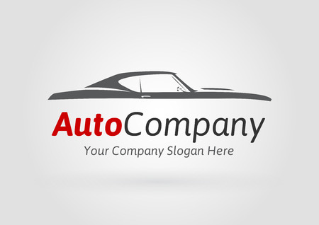 Auto Company Design Concept with classic American style sports Car Silhouette. Vector illustration. Vettoriali